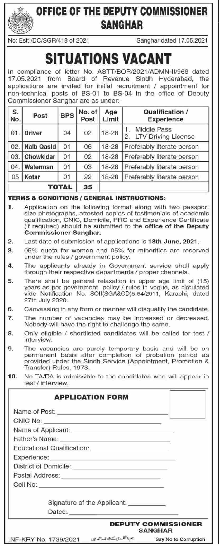Office of The Deputy Commissioner District Korangi Jobs 2021 in Pakistan