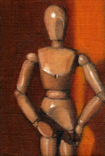 Oil painting of a wooden artist's model in front of an orange background.