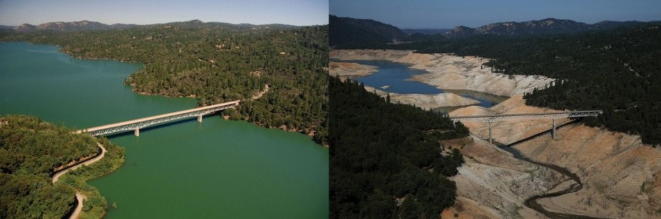 "You Still Think Climate Change Is A Hoax These 20 Before-And-After Photos Will Leave You Speechless! - THE ENTERPRISE BRIDGE PASSES OVER A SECTION OF LAKE OROVILLE IN 2011 (LEFT) AND 2014 (RIGHT) IN OROVILLE, CALIFORNIA, WHICH IS EXPERIENCING ""EXCEPTIONAL"" DR"
