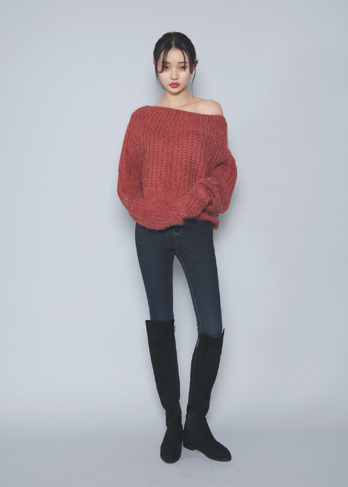 Off-Shoulder Oversized Angora Knit Sweater