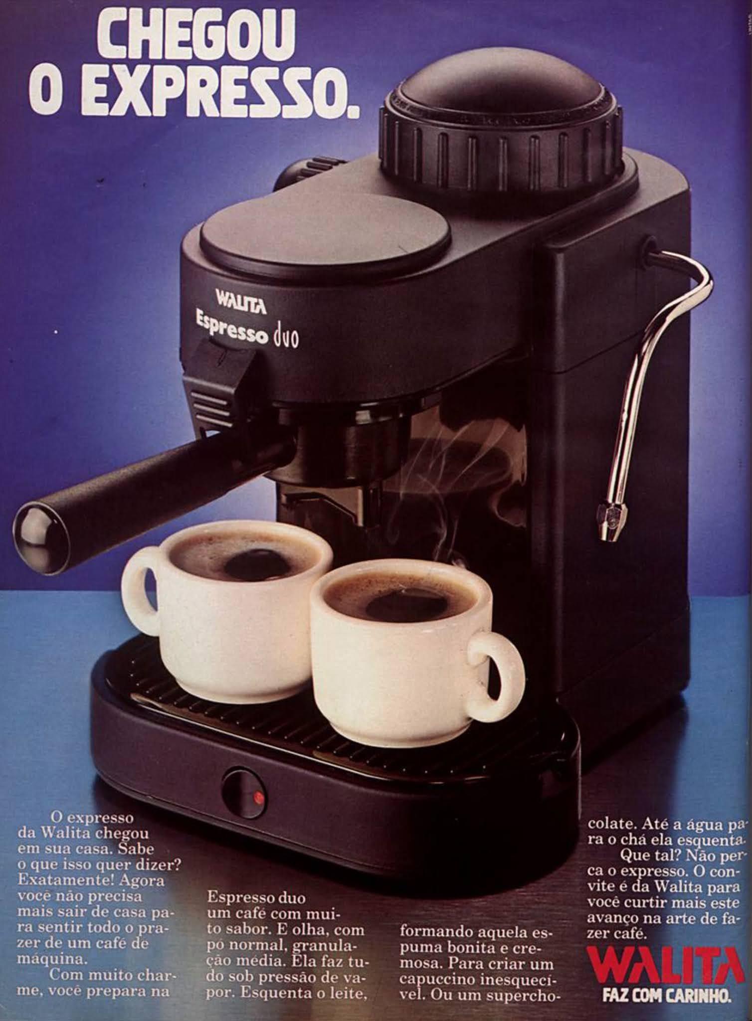 Anúncio da Walita veiculado em 1987 apresentando sua cafeteira expressa com duas saídas