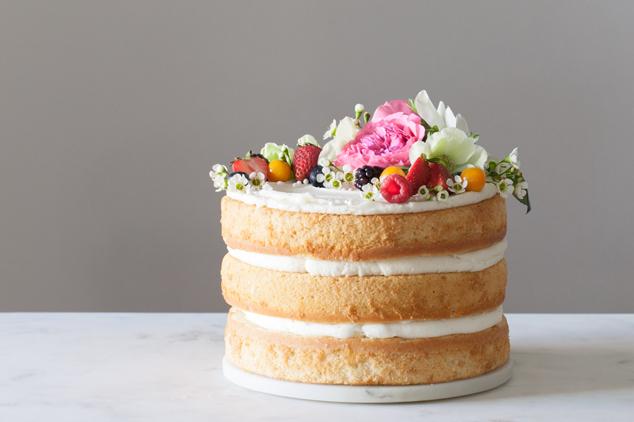 Spring simple nude cake