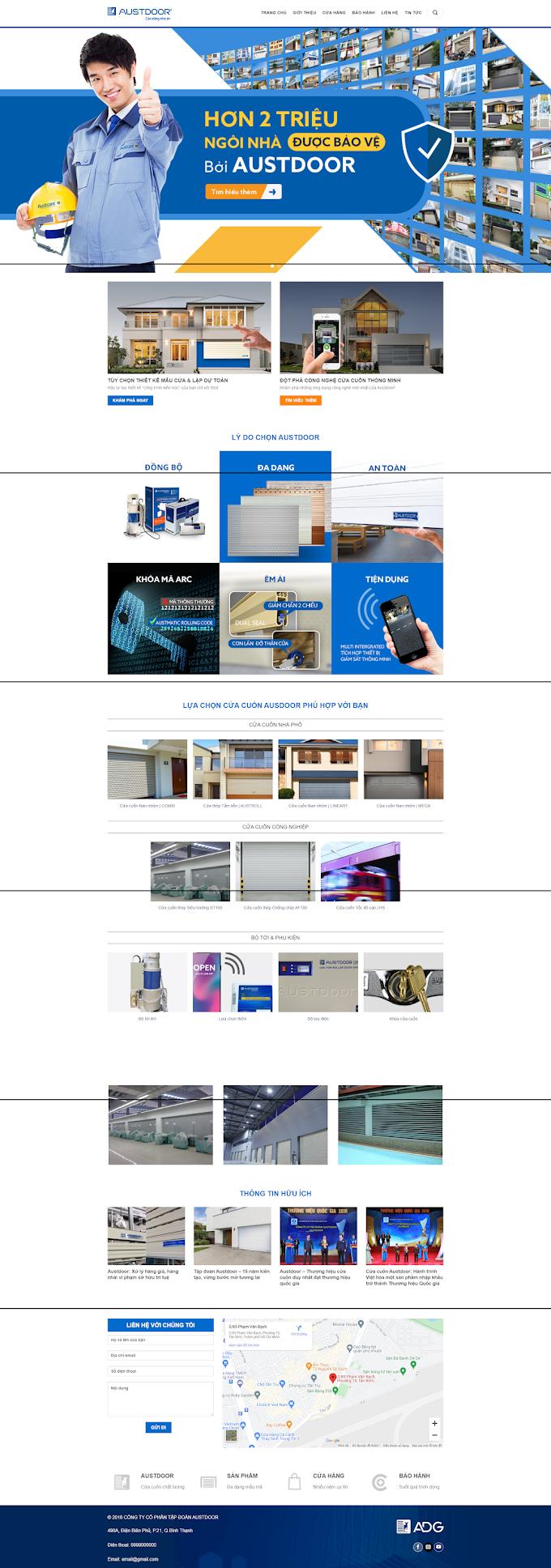Mẫu website cơ khí - cửa cuốn
