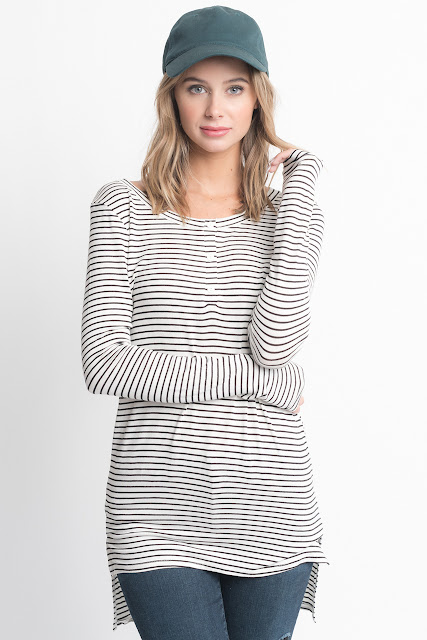 Shop for White Striped Long Sleeve Hi Lo Button Down Tunic Online on Caralase.com