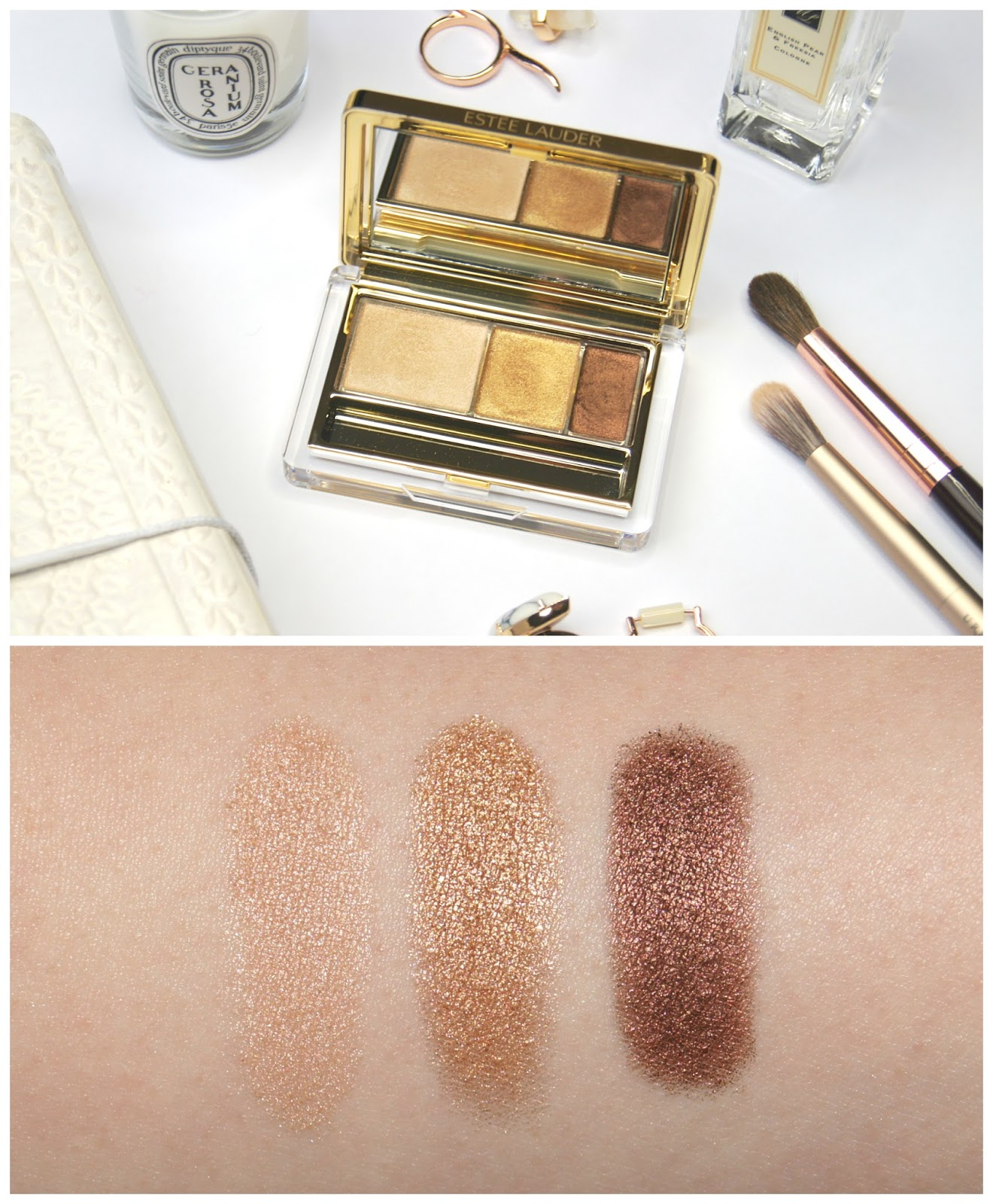 estee lauder pure color intense eyeshadow trio 05 gilded chocolates review swatches