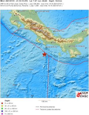 Magnitude 6.8 earthquake shakes southern coast of Panama and Costa Rica