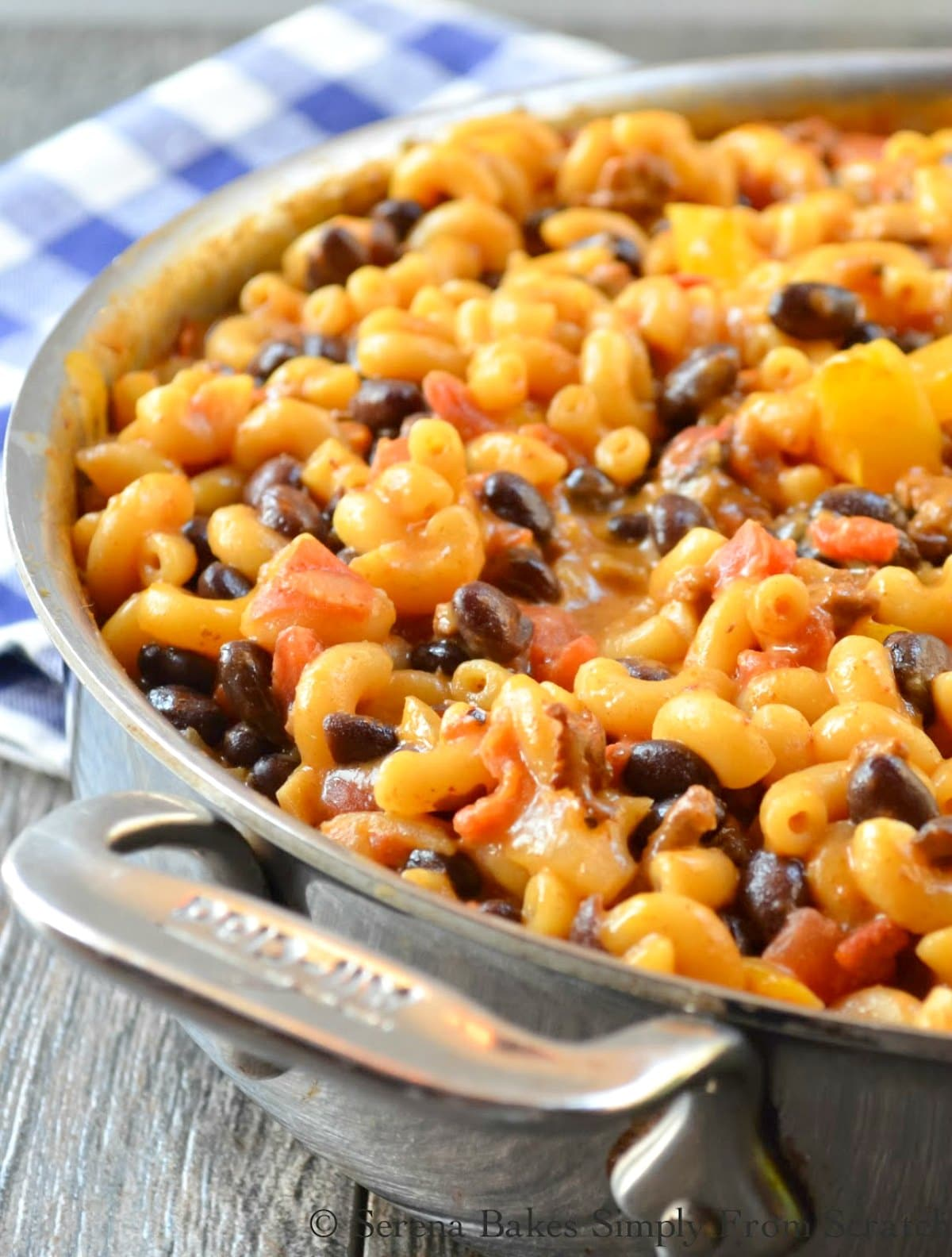 One Pot Chili Mac And Cheese is so easy and done in under 30 minutes making it a family favorite quick dinner recipe from Serena Bakes Simply From Scratch.