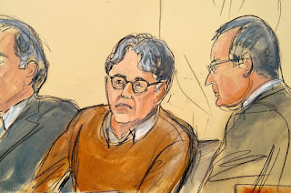Keith Raniere, center, depicted in a courtroom drawing with his lawyers