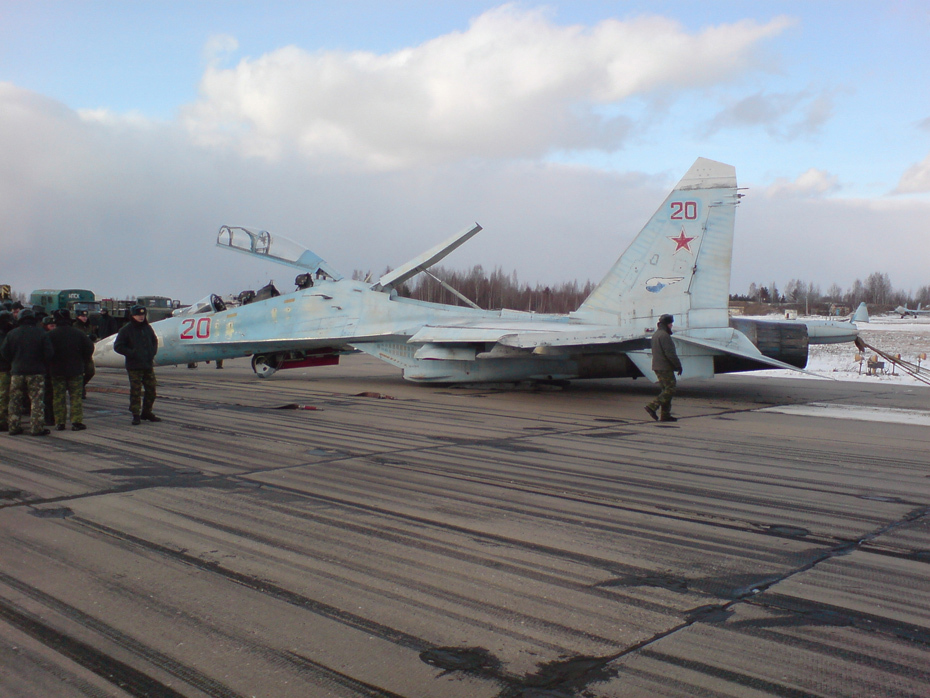 Images of Russian Su-27UB Fighter Jet After Emergency ...