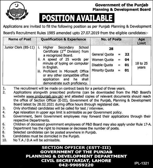Junior Clerk Jobs 2021 in Planning and Development Punjab - Junior Clerk Jobs 2021