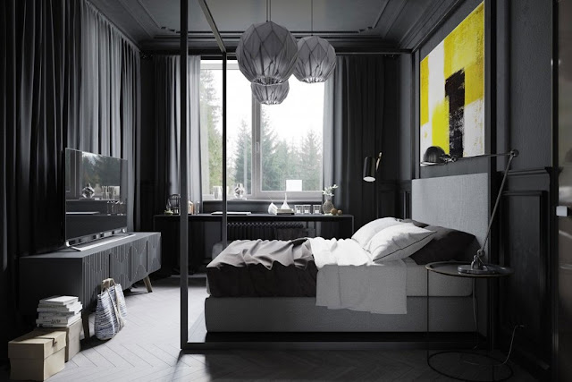 Modern black and white bedroom design and combination of yellow painting