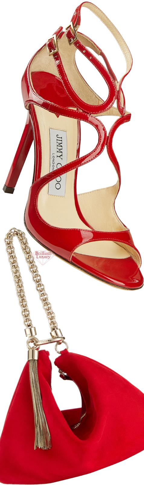 Jimmy Choo Red Lang Sandals & Red Callie Bag #brilliantluxury
