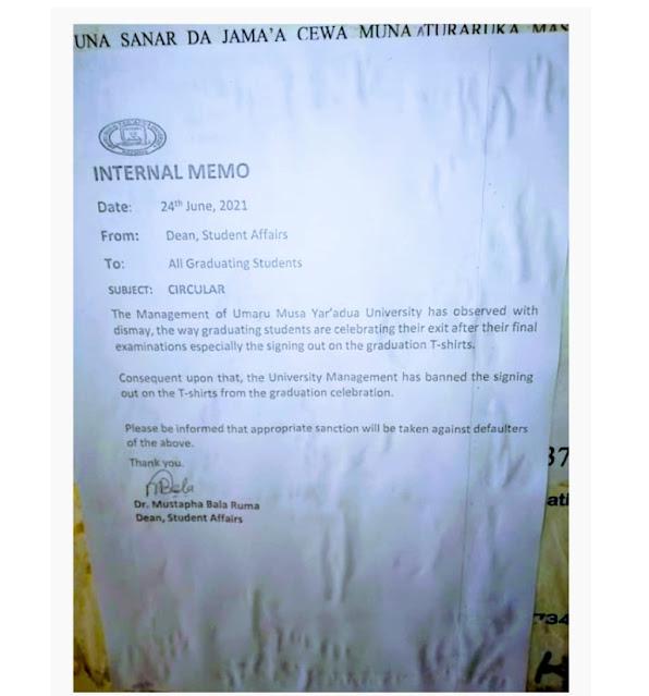 UMYUK Katsina Bans Graduation Sign Out Celebration On T-Shirts