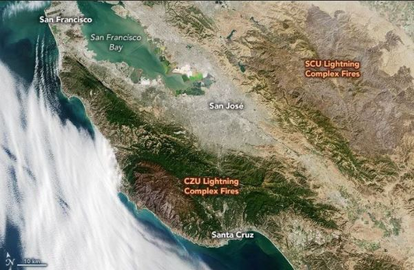 California fire damage satellite map