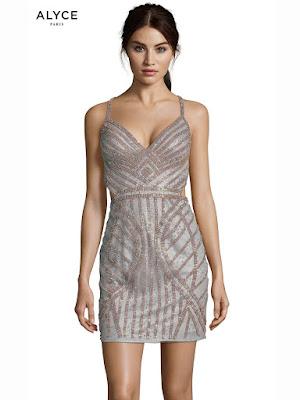 V-neck alyce Paris Short Dress Dark Silver Color