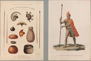 Îles Sandwich - Outils - Un officier du roi en grand costume - Dessins de Jacques Arago - Musée du quai Branly - Jacques Chirac.