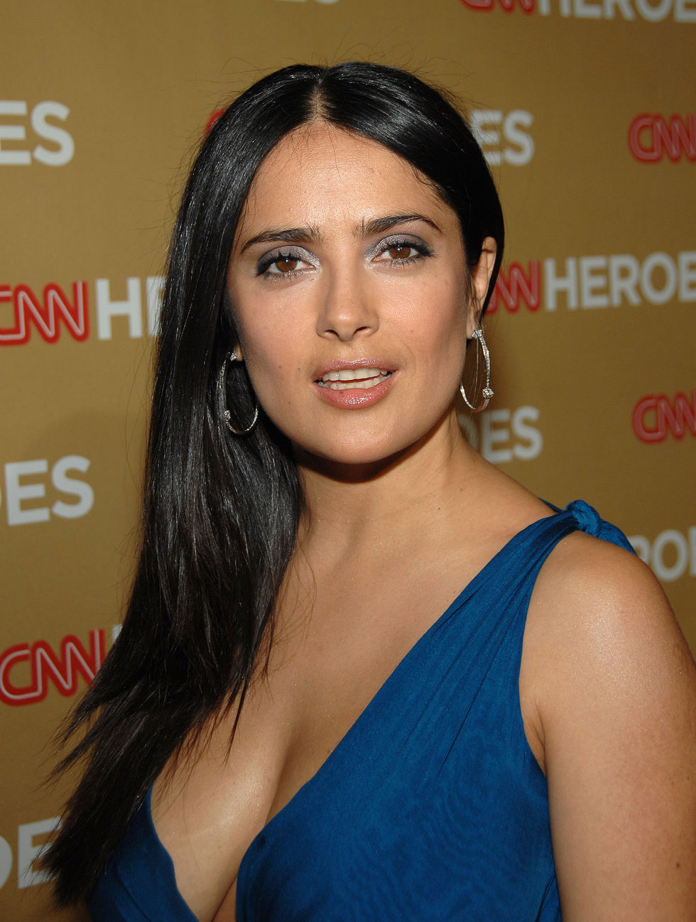 Mexican Actress Salma Hayek Hot In Blue Dress