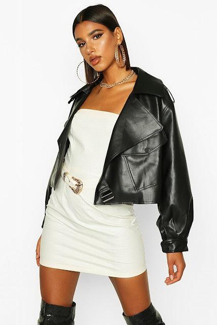 Oversized Crop Biker Faux Leather Jacket