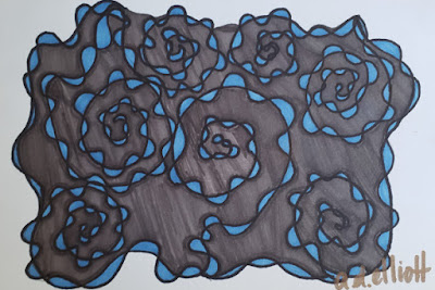 A pen and ink doodle meditation in blue and grey and a blurb about Black Bart.
