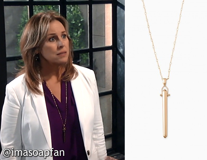 Laura Spencer's Gold Bar Pendant Necklace - General Hospital, Season 54, Episode 08/25/16