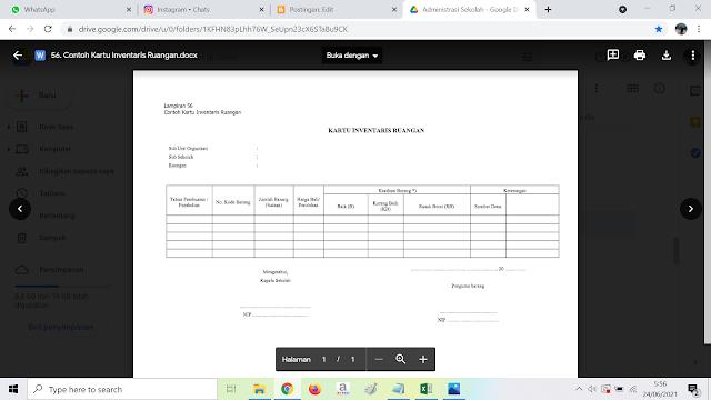 Contoh Format Kartu Inventaris Ruangan Sekolah