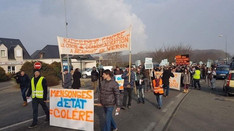 Des manifestants se sont rassemblés pour dire non au centre de déradicalisation de Pontourny (Photographie d'illustration)