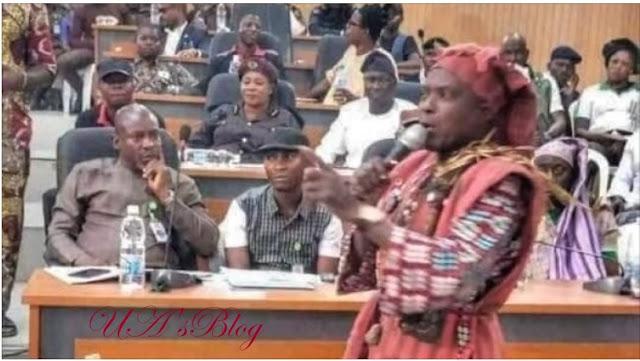 PHOTOS: Amotekun 'commander' storms Ekiti assembly in 'juju' regalia