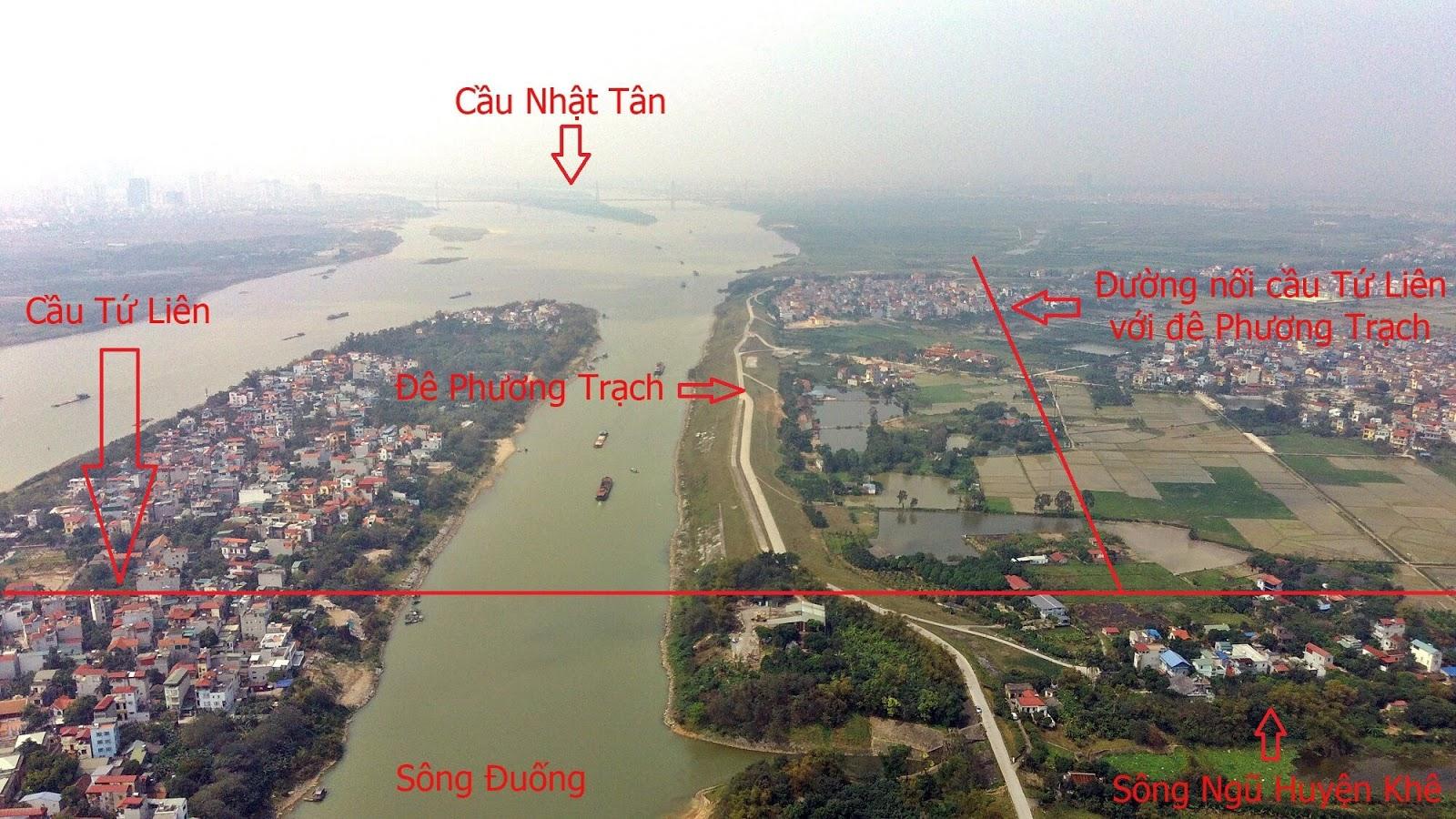 Cầu Tứ Liên đi qua đê Phương Trạch và sông Hồng.
