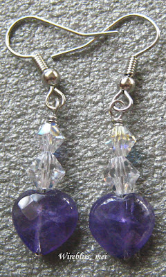 Wire Wrapped Amethyst & Crystal Earring