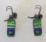 Glass earrings green and purple