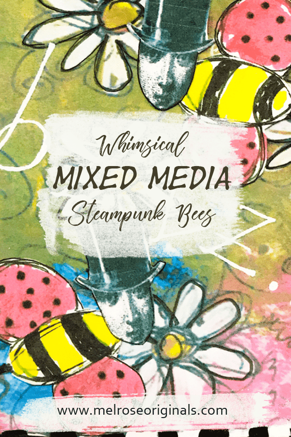 Whimsical Mixed media art steampunk bees collection