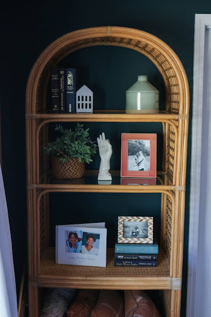 rattan shelf with sherwin williams cascades green walls