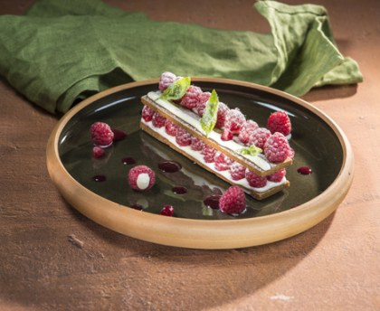 Raspberry and basil millefeuille