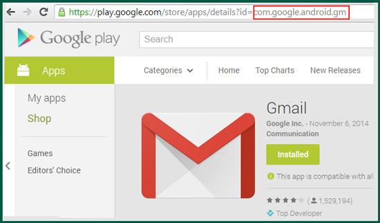 استخراج اسم حزمة التطبيق من متجر Play