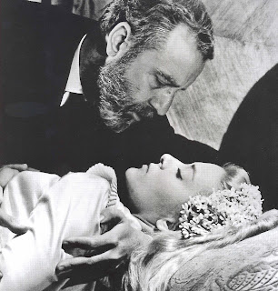 Fernando Rey as Don Jamie in Viridiana, silvia pinal in wedding dress, directed by luis bunuel
