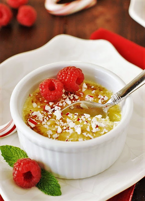 Peppermint-White Chocolate Creme Brulee in Ramekin Image