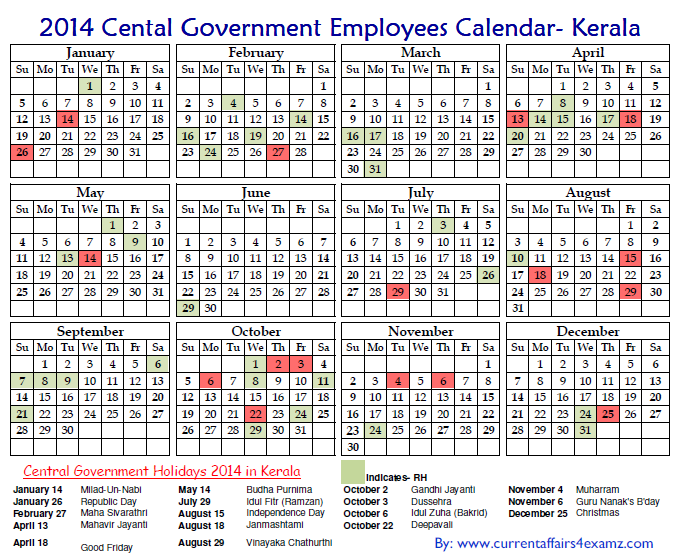 Central Government Employees Holiday Calendar 2014 PDF ...