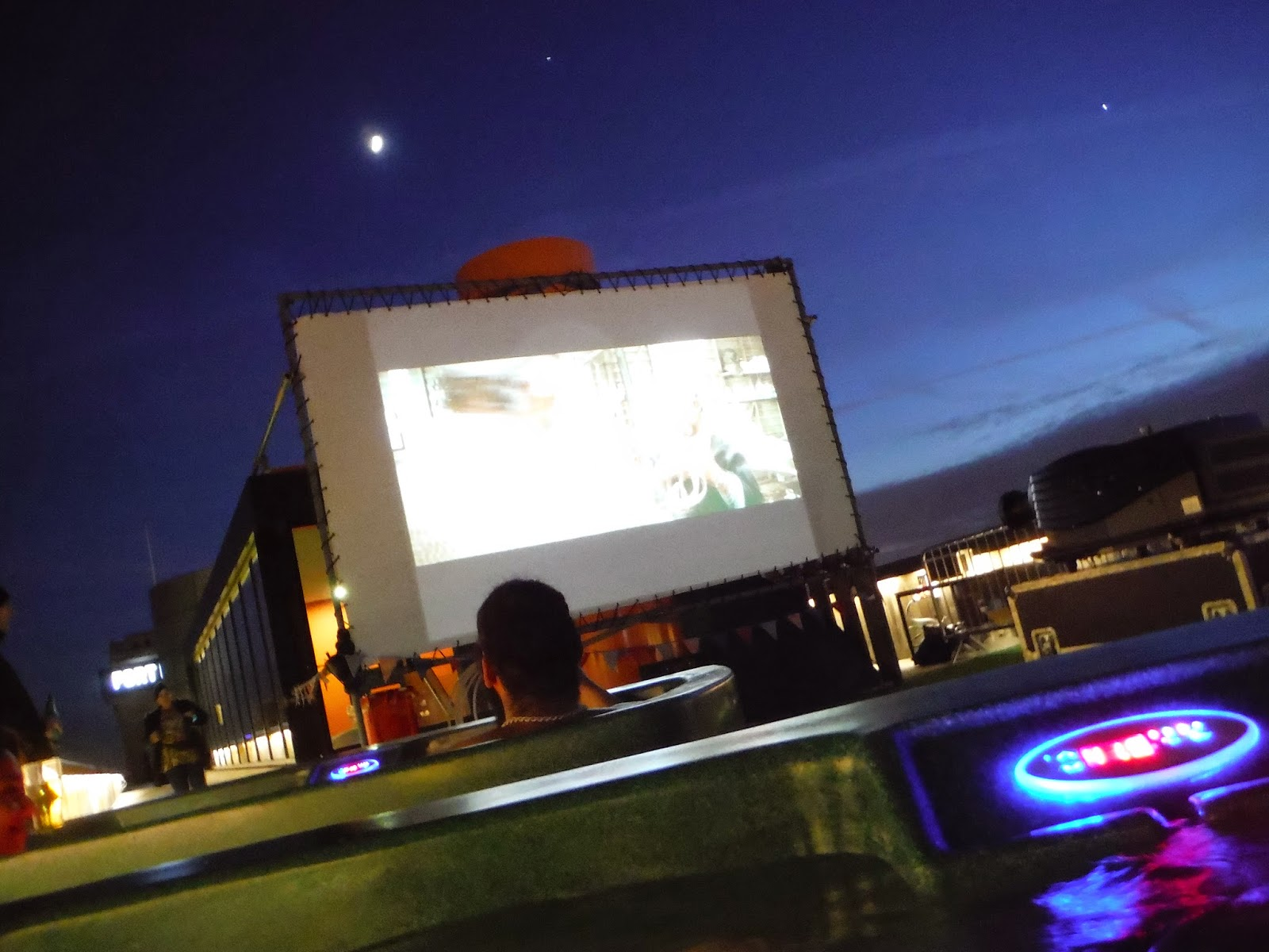 the cinema screen as the film was playing