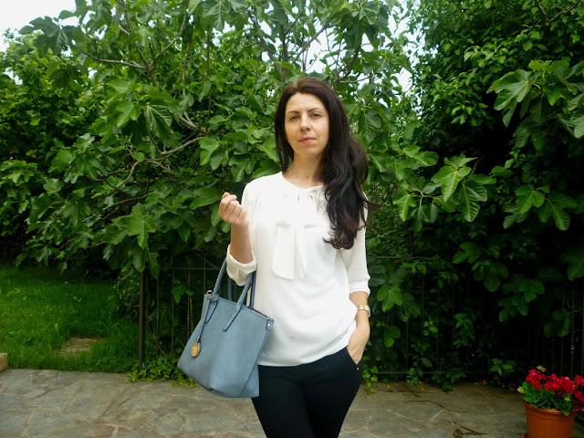 biala bluzka stylizacja