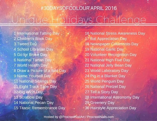 30 Days of Colour April 2016 Unique Holidays Challenge