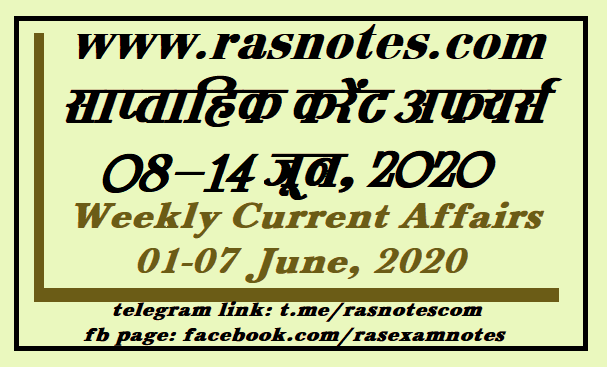 Current Affairs GK Weekly June 2020 (08-14 June) in hindi pdf