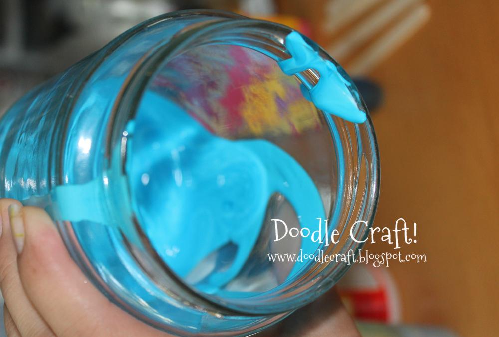 Doodlecraft: Blue tinted Mason Jars