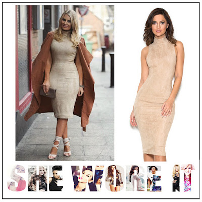 Beige, Danielle Armstrong, Dress, Ecru, Faux Suede, High Neck, House Of CB, Pencil Dress, Racerback, Sleeveless, Textured, The Only Way Is Essex, TOWIE,