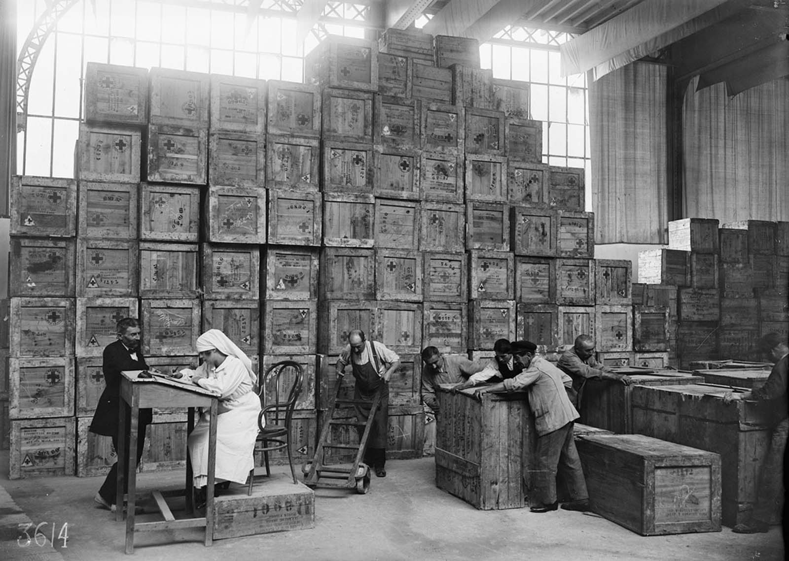 Parcels bound for the front line, at an American Red Cross facility in Paris in July of 1918.