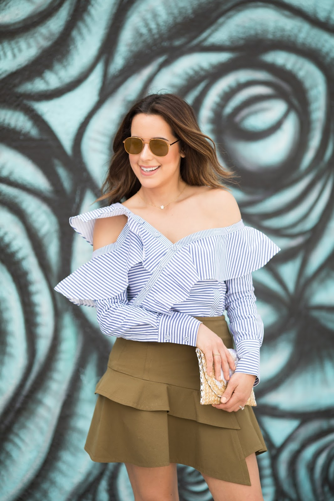 Fashion Blogger Kelly Saks in Self Portrait Pinstripe Ruffle Top and Derek Lam 10 Crosby Army Ruffle Skirt