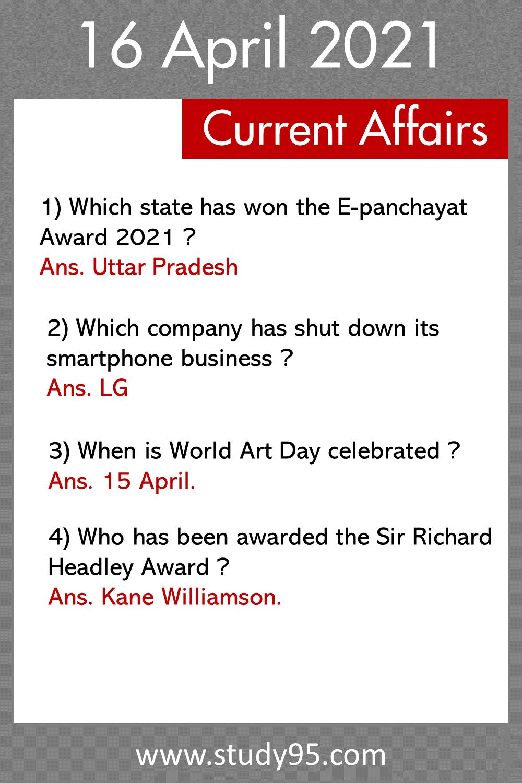 16 April Current Affairs