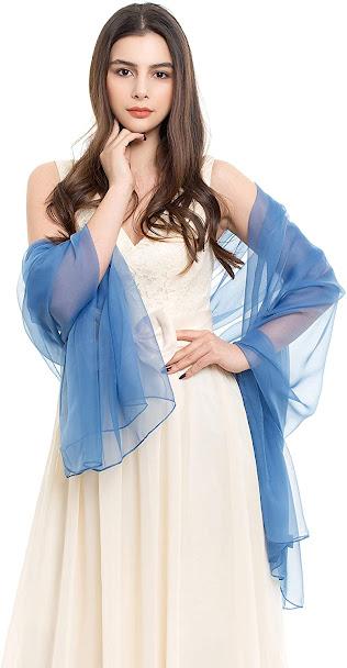 Cheap Plain Blue Chiffon Scarves Shawls