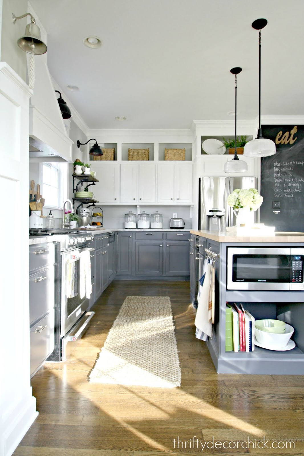 HUGE kitchen redo with gray and white cabinets