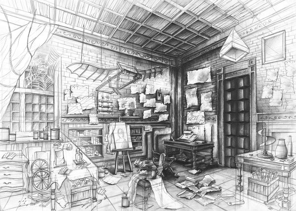 02-Leonardo-da-Vinci-Laboratory-Marlena-Kostrzewska-Interior-Design-and-Architecture-in-Pencil-Drawings-www-designstack-co