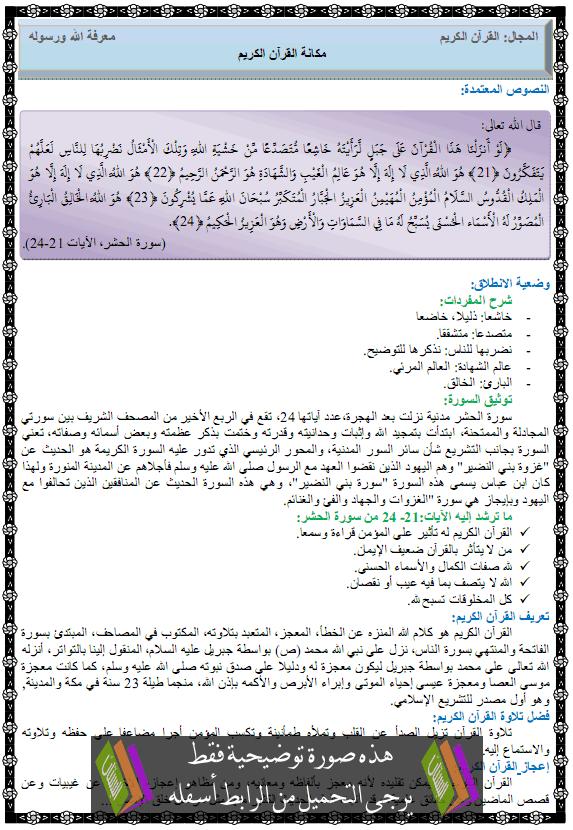 درس مكانة القرآن الكريم للسنة الاولى متوسط